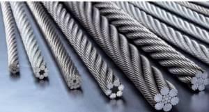 Cortes longitudinais de cabos de aço